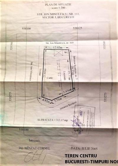 Teren centru bucuresti-timpuri noi/313.17 mp
