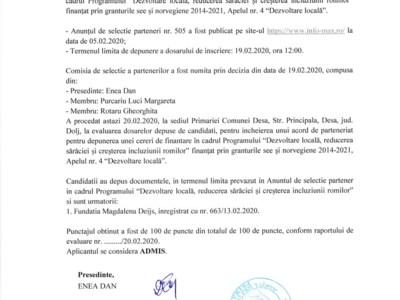Raport selecŢie parteneri nr.775/20.02.2020
