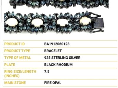 Brățară din argint cu saphire și opale.