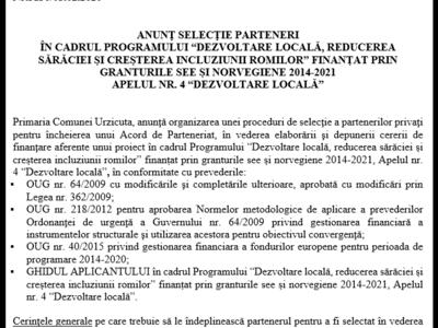 AnunŢ selecŢie parteneri nr.3130/05.02.2020