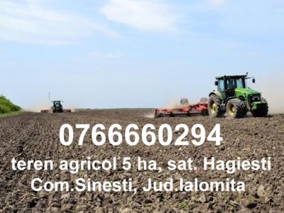 Teren agricol 5 ha, hagiesti, jud ialomita
