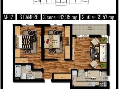 Apartament cu 2 camere , chiajna langa ballroom .