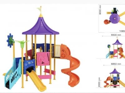 Ansamblu de joaca pentru copii / tobogan / leagăn