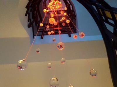 Candelabru casa scarii cu fibra optica si cristal