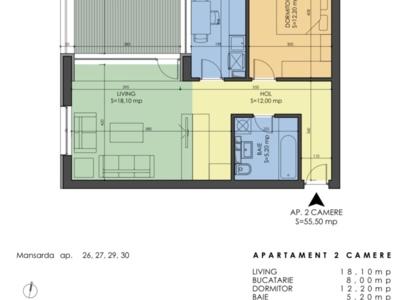 Apartament cu 2 camere si incalzire in pardoseala