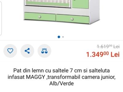 Super oferta:patut bebe+saltea+4 lenjerii 1000ron